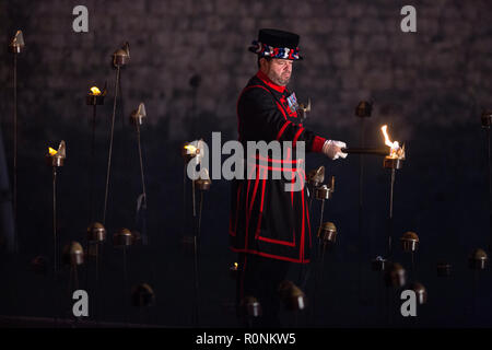Tower of London marks the centenary of the First World War with the installation Beyond the Deepening Shadow: The Tower Remembers, London, England, UK - Stock Photo