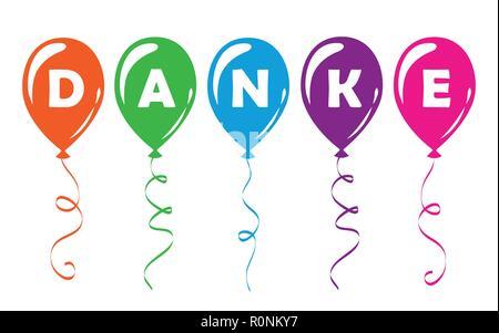 german text Danke translation Thank You colorful balloons vector illustration - Stock Photo