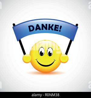 happy face with german text Danke translation Thank You typography vector illustration - Stock Photo