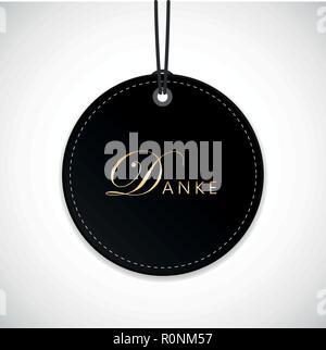 german text Danke translation Thank You calligraphy on black round hanging label vector illustration - Stock Photo