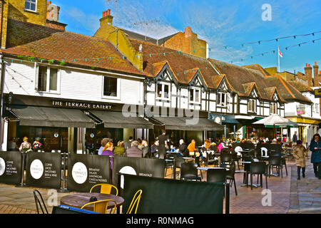 Morning shoppers relaxing in the Terrace Eatery, a Deli / café in an old building with pavement seeting area. Kingston upon Thames, London,England - Stock Photo