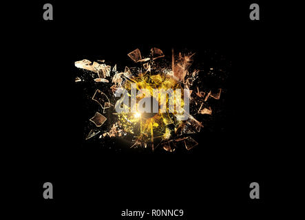 Conceptual creative photo of a yellow human eye close-up macro that breaks into small pieces of glass isolated on a black background. - Stock Photo