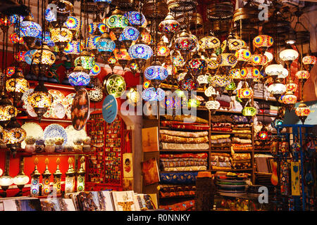 Traditional handmade turkish lamps in souvenir shop. Mosaic of colored glass. Grand bazaar, Istanbul, Turkey - September, 27 - 2018. - Stock Photo