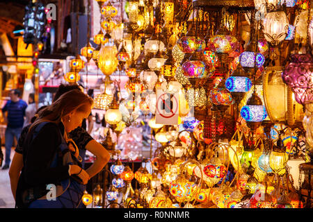 Traditional handmade turkish lamps in souvenir shop. Mosaic of colored glass. Grand bazaar, Istanbul, Turkey - September, 28 - 2018. - Stock Photo