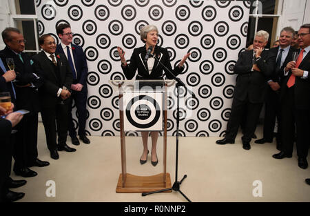 Prime Minister Theresa May addresses the launch of the Centre for Policy Studies' major new policy programme at the British Academy, Carlton House Terrace, St James', London. PRESS ASSOCIATION Photo. Issue date: Tuesday November 6, 2018. Photo credit should read: Chris Radburn/PA Wire - Stock Photo