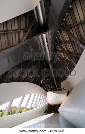Bridge Pavilion building designed by architect Zaha Hadid in Zaragoa, Aragon, Spain - Stock Photo