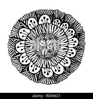 Black outline flower mandala. Ornamental hand drawn floral element. Vector illustration isolated on white background. - Stock Photo