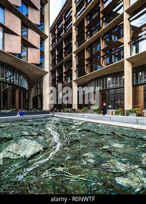Bloomberg Building London - European HQ of Bloomberg L.P. Opened 2017 architects Foster and Partners - Cristina Iglesias's water feature - Stock Photo