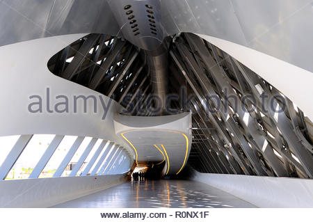 Bridge Pavilion building designed by architect Zaha Hadid in Zaragoa, Aragon, Spain - Stock Photo