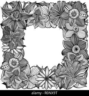 Ethnic floral zentangle, doodle frame in vector  Henna