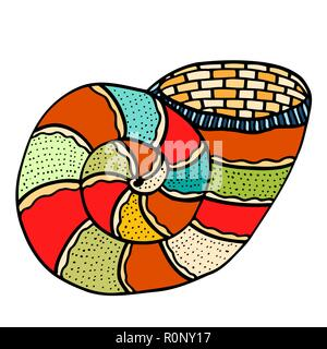 Seashell Vector illustration. Zentangle. Hand drawn artwork - Stock Photo