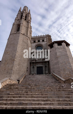 Facade of the Iglésia de Sant Feliu, Girona, Catalonia, Spain - Stock Photo