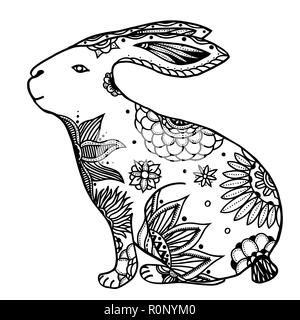Decorative hand drawn doodle rabbit illustration. Ornate white hare drawing - Stock Photo