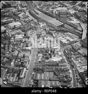 Carlisle, Cumbria, 1977. Aerial view of  the town centre, council offices and Citadel Railway Station. - Stock Photo