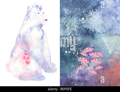 watercolor cute abstract bear  om one side and fishes with starry background on the other - Stock Photo