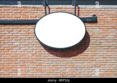 Empty Sign Board,black frame light sign board on red brick wall background display exterior design mockup,Clipping path on board for easy replace you design mock up - Stock Photo