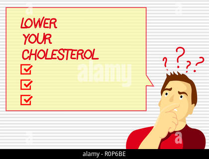 Handwriting text Lower Your Cholesterol. Concept meaning Reduce the intake of fatty foods Do regular exercise. - Stock Photo
