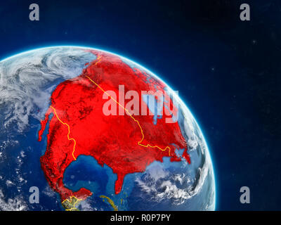 NAFTA memeber states from space on realistic model of planet Earth with country borders and detailed planet surface and clouds. 3D illustration. Eleme - Stock Photo