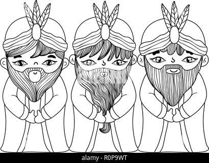 christmas nativity scene cartoon - Stock Photo
