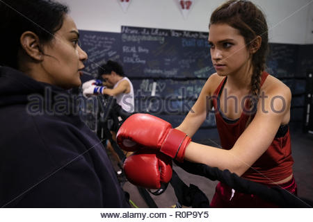 Female boxers talking in gym - Stock Photo