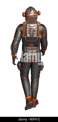 Astronaut in spacesuit from back, isolated on white. 3D rendering. - Stock Photo