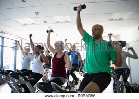 People using dumbbells on exercise bikes in spin class in gym - Stock Photo