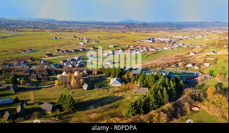 Aerial view of Village museum in Sighetu Marmatie, Maramures region, Romania - Stock Photo