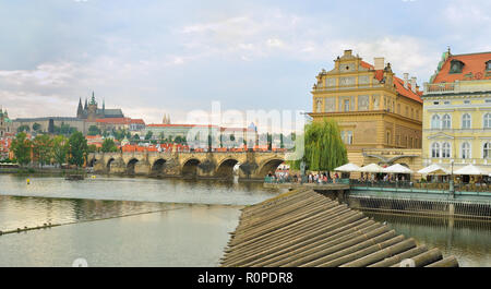 A wide view of the Charles Bridge and historic buidings, looking across the Vltava river from Smetana quay - Stock Photo