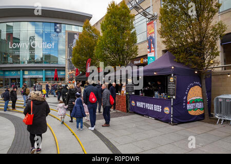 The Makers Market, craft and food market at the Lowry Outlet Shopping Centre, MediaCityUK, Salford Quays - Stock Photo