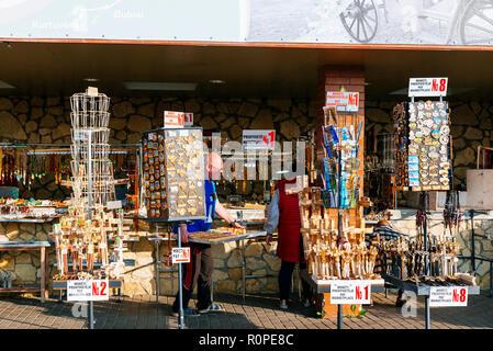 Sale of souvenirs, Hill of Crosses, Siauliai (Šiauliai), Siauliai County , Lithuania, Baltic states, Europe - Stock Photo