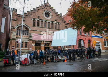 New York, USA. 6th November, 2018. View of God Father of Harlem recording set in Harlem neighborhood in New York City on Tuesday, 06. (Photo: Vanessa Carvalho / Brazil Photo Press) Credit: Brazil Photo Press/Alamy Live News - Stock Photo