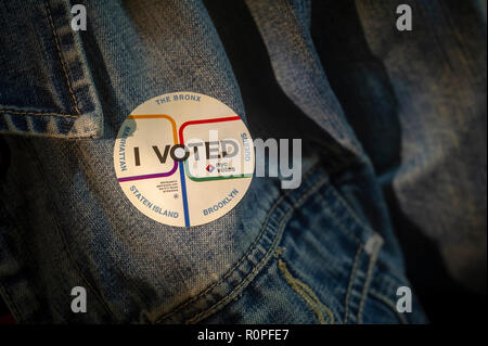 New York, USA. 6th November, 2018. A voter wears her 'I Voted' sticker on Election Day in New York on Tuesday, November 6, 2018. Credit: Richard Levine/Alamy Live News - Stock Photo