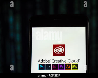 Kiev, Ukraine. 6th Nov, 2018. Adobe Creative Cloud logo seen displayed on smart phone. Adobe Creative Cloud is a set of applications and services from Adobe Systems that gives subscribers access to a collection of software used for graphic design, video editing, web development, photography, along with a set of mobile applications and also some optional cloud services. Credit: Igor Golovniov/SOPA Images/ZUMA Wire/Alamy Live News - Stock Photo