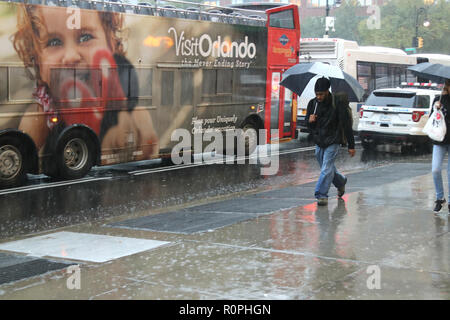 "New York City, New York, USA. 6th Nov, 2018. Rain for much of the day ''"" heavy at times ''"" may impact voter turn-out at the polls for the US midterm election on 6 November 2018. Credit: G. Ronald Lopez/ZUMA Wire/Alamy Live News - Stock Photo"