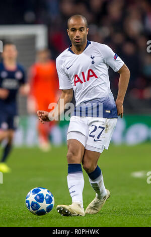 Wembley Stadium, London, UK. 6th November, 2018. Lucas of Tottenham Hotspur during the UEFA Champions League Group Stage match between Tottenham Hotspur and PSV Eindhoven at Wembley Stadium, London, England on 6 November 2018. Photo by Salvio Calabrese. Credit: UK Sports Pics Ltd/Alamy Live News - Stock Photo
