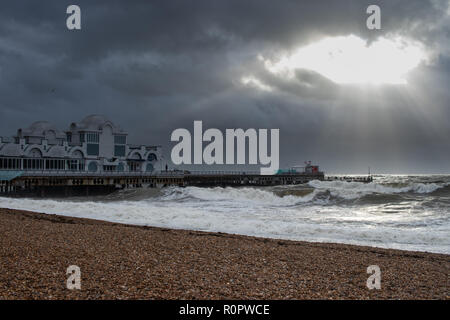 Light rays at the end of south parade pier, Southsea, Portsmouth, Hampshire, UK - Stock Photo