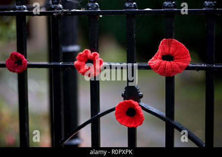 Bishopsteignton Village, South Devon. 7th Nov 2018. Bishopsteignton Village have come together with community groups including the local school, Scouts and Brownies to knit and crochet over 2,500 poppies to mark the end of World War 1. The poppies are adorning railings, gates and even bollards through the village to create a striking display to commemorate the 100 years since the end of WW1. Credit: Vicki Gardner/Alamy Live News Credit: Vicki Gardner/Alamy Live News