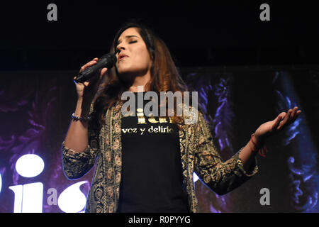 Mexico City, Mexico. 6th Nov 2018. Mariaca Semprun performs during the Musical 'Piaf Voice and Delirium' press conference at Cultural Center Theatre 1 on November 6, 2018 in Mexico City, Mexico Credit: Carlos Tischler/Alamy Live News - Stock Photo