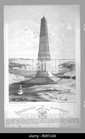 'The Yarborough Monument, Bembridge Down', late 19th century. Granite obelisk on Culver Down, Isle of Wight, erected in 1849 in memory of Charles Anderson-Pelham, created 1st Earl of Yarborough in 1837. Anderson-Pelham founded the prestigious Royal Yacht Squadron in Cowes. - Stock Photo
