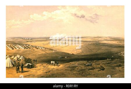 'Distant View of Lord Raglan's Headquarters before Sebastopol', 1855. Scene from the Crimean War: British military encampments and the headquarters of Fitzroy HJ Somerset, 1st Baron Raglan, commander of the British troops. Ragland died after the assault on Sevastopol in June 1855. Published 18 January 1855. - Stock Photo