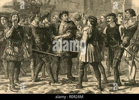 'Beginning of the Riot in Cheapside', (1897). In 1517 a protest, which became known as Evil May Day, took place against foreigners living in London. From Old and New London, Volume I, by Walter Thornbury. [Cassell and Company, Limited, London, Paris & Melbourne, 1897] - Stock Photo