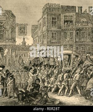 'The Lord Mayor's Procession', (1897). A mayoral procession entering Cheapside in the City of London in the 18th century. A scene inspired by 'Industry and Idleness' by William Hogarth: 'The industrious 'prentice Lord Mayor of London'. From Old and New London, Volume I, by Walter Thornbury. [Cassell and Company, Limited, London, Paris & Melbourne, 1897] - Stock Photo