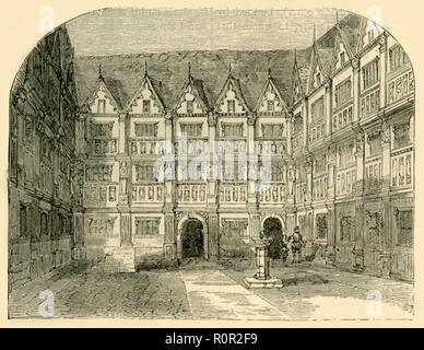 'Sir Thomas Gresham's House in Bishopsgate Street', (c1872). The 16th-century house of English merchant and financier Sir Thomas Gresham (c1519-1579). His will dictated that the house be used as a college, and Gresham College was established in the house in 1597. From Old and New London, Vol. II: A Narrative of Its History, Its People, and Its Places, by Walter Thornbury. [Cassell, Petter, Galpin & Co., London, Paris & New York] - Stock Photo