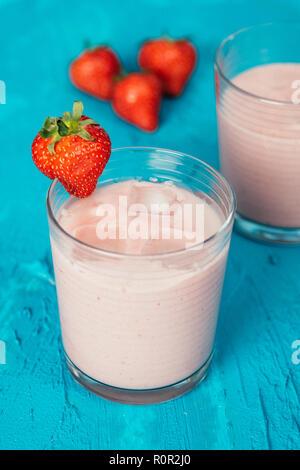 Vegan strawberry smoothie with almond milk and silken tofu - Stock Photo