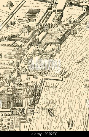 'Whitehall and Westminster. (From Aggas' Map)', (1881). Bird's eye view, by cartographer Ralph Agas (c1540-1621), of Whitehall Palace in the village of Westminster on the River Thames, now part of greater London. Buildings and landmarks shown include: Westminster Abbey, Westminster Hall, the 'Starre' Chamber, and Scotland Yard. From Old and New London: A Narrative of Its History, Its People, and Its Places. Westminster and the Western Suburbs, by Edward Walford, Vol. III. [Cassell, Petter, Galpin & Co., London, Paris & New York, 1881] - Stock Photo