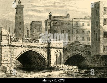 'South End of Old London Bridge, with Shot Tower and St. Olave's Church, in 1820', (c1878). View of the south bank of the River Thames in London showing the shot tower (later burned down), and St Olave's Church (demolished in the 1920s) on Tooley Street, with the old London Bridge in the foreground. From Old and New London: A Narrative of Its History, Its People, And Its Places. The Southern Suburbs, Volume VI, by Edward Walford. [Cassell, Petter, Galpin & Co., London, Paris & New York, c1878] - Stock Photo