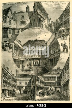 'Old Inns in Southwark', (c1878). Public houses in Southwark, south London: Dog & Bear and Old Croyden House; King's Head; The Catherine Wheel; Queen's Head; The George. Many of these buildings were used as theatres in the 16th century, with plays being performed in the courtyard as people watched from the balconies. From Old and New London: A Narrative of Its History, Its People, And Its Places. The Southern Suburbs, Volume VI, by Edward Walford. [Cassell, Petter, Galpin & Co., London, Paris & New York, c1878] - Stock Photo