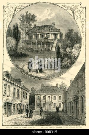 'Jamaica House', 1826, (c1878). Two views - garden front and Cherry Garden Street - of Jamaica House in Bermondsey, south London. 'A Jacobean house...was built at the north end of Cherry Garden Street and named Jamaica House after the newly acquired island.' It was demolished in the latter half of the 19th century. From Old and New London: A Narrative of Its History, Its People, And Its Places. The Southern Suburbs, Volume VI, by Edward Walford. [Cassell, Petter, Galpin & Co., London, Paris & New York, c1878] - Stock Photo
