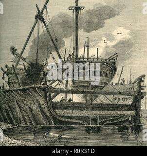 'Floating Dock, Deptford (1820)', (c1878). The Royal Navy Dockyard at Deptford on the River Thames operated from the mid-16th to the late 19th century. The dockyard, in what is now part of greater London, built and maintained warships for 350 years. From Old and New London: A Narrative of Its History, Its People, And Its Places. The Southern Suburbs, Volume VI, by Edward Walford. [Cassell, Petter, Galpin & Co., London, Paris & New York, c1878] - Stock Photo