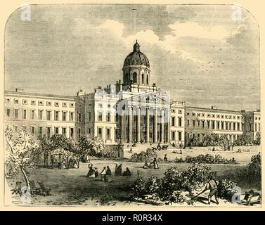 'Bethlehem Hospital', (c1878). View of the Bethlem Royal Hospital, a psychiatric hospital in London dating back to the 13th century. The building at St George's Fields in Lambeth, south London (seen here), was completed in 1815. New buildings, designed by Sydney Smirke, were added from the 1830s. The term 'bedlam' is derived from the hospital's prior nickname, (a corruption of Bethlehem). From Old and New London: A Narrative of Its History, Its People, And Its Places. The Southern Suburbs, Volume VI, by Edward Walford. [Cassell, Petter, Galpin & Co., London, Paris & New York, c1878] - Stock Photo